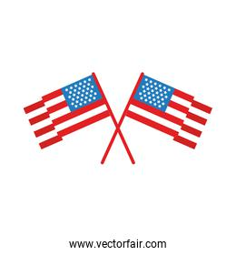 usa flags crossed flat style icon