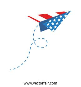 paper airplane with usa flag flat style