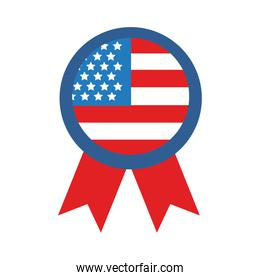 medal with usa flag flat style icon