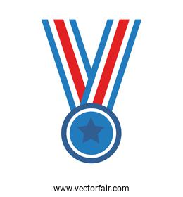 medal with ribbon and star flat style