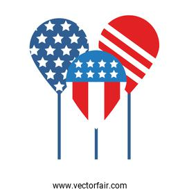 balloons helium with usa flag flat style