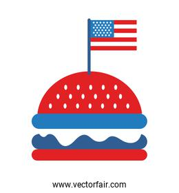 hamburger with usa flag flat style