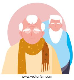 happy elderly men sharing at home