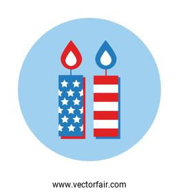usa flag in candles block style icon