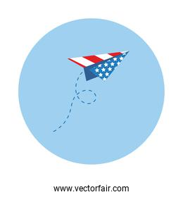 paper airplane with usa flag block style