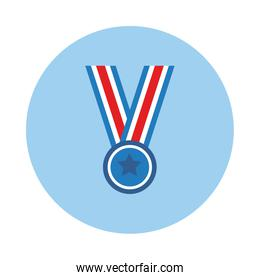 medal with ribbon and star block style