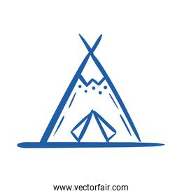 indian tent canadian hand draw style icon