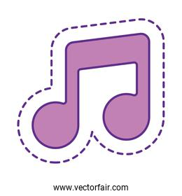 Cute music note patch line and fill style icon vector design