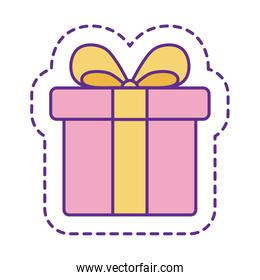 Cute gift patch line and fill style icon vector design