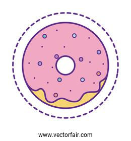 Cute donut patch line and fill style icon vector design
