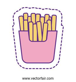 Cute french fries patch line and fill style icon vector design