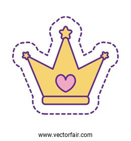 Cute crown patch line and fill style icon vector design