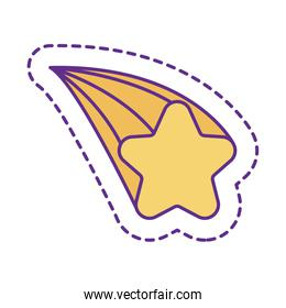 Cute star patch line and fill style icon vector design