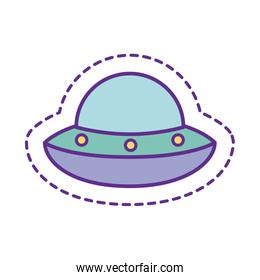 Cute ufo patch line and fill style icon vector design