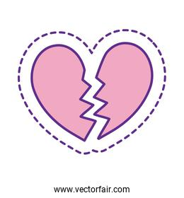 Cute broken heart patch line and fill style icon vector design