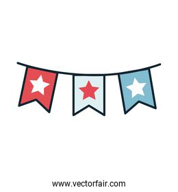 garlands with stars 4 de july line and fill style
