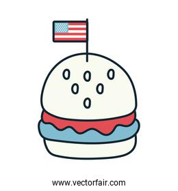 hamburger with usa flag line and fill style