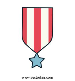 medal with ribbon and star line and fill style