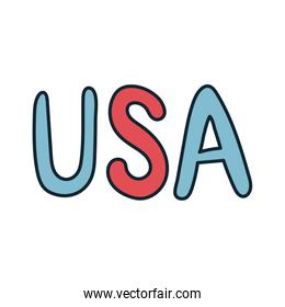 usa lettering independence day line and fill
