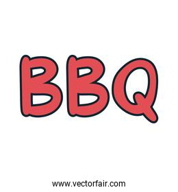 bbq word lettering line and fill style