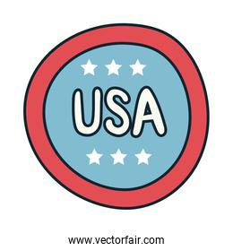 stamp with stars usa independence day line and fill style