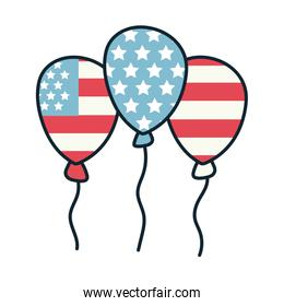 balloons helium with usa flag line and fill style