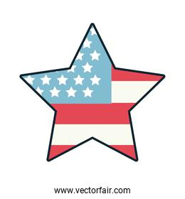star with usa flag line and fill style icon