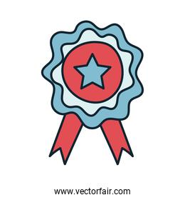 medal with star line and fill style icon