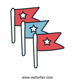 flags with stars independence day line and fill