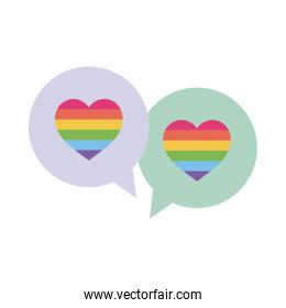 lgtbi hearts inside bubbles flat style icon vector design