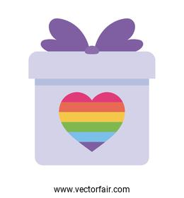 lgtbi heart inside gift flat style icon vector design