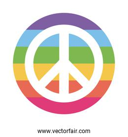 lgtbi love and peace flat style icon vector design