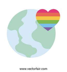 lgtbi heart and world flat style icon vector design