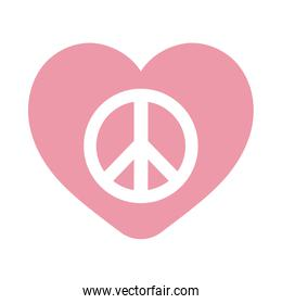 peace and love symbol inside heart flat style icon vector design