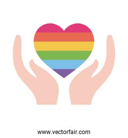 lgtbi heart over hands flat style icon vector design