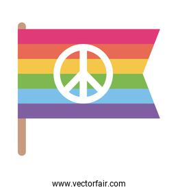 lgtbi flag with love and peace flat style icon vector design