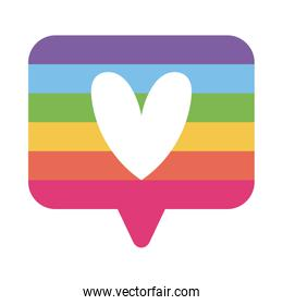 lgtbi heart inside bubble flat style icon vector design
