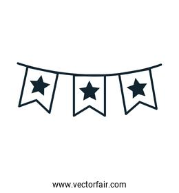 garlands with stars 4 de july line style