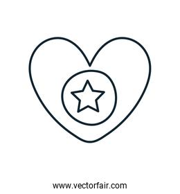 heart with star independence day line style