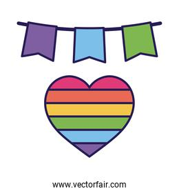 lgtbi heart and banner pennant fill style icon vector design