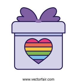 lgtbi heart inside gift fill style icon vector design