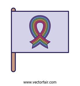 lgtbi flag with ribbon fill style icon vector design