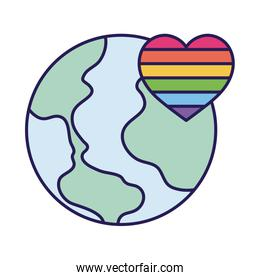 lgtbi heart and world fill style icon vector design