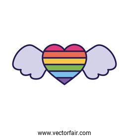 lgtbi heart with wings fill style icon vector design