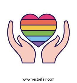lgtbi heart over hands fill style icon vector design