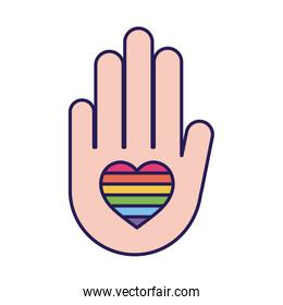 lgtbi heart inside hand fill style icon vector design