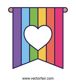 lgtbi flag with heart fill style icon vector design