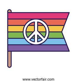 lgtbi flag with love and peace fill style icon vector design