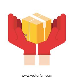 hands lifting box delivery service detailed style