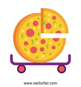 pizza in skateboard detailed style